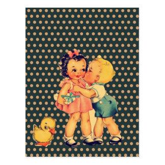 oud de kitsch Vintage Kind van school retro Briefkaart
