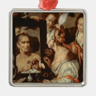 Oud Flirt Zilverkleurig Vierkant Ornament