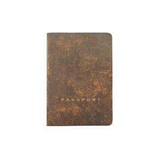 Oud leer paspoort houder