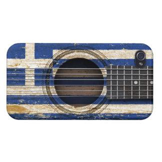 Oude Akoestische Gitaar met Griekse Vlag iPhone 4 Hoesjes