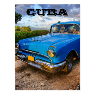 Oude Amerikaanse klassieke auto in Trinidad, Cuba Briefkaart