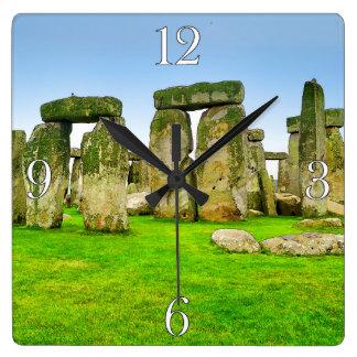Oude Bevindende Stenen Stonehenge in het Art. van Vierkante Klok