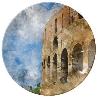 Oude Colosseum in Rome Italië Porseleinen Bord