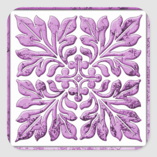Oude Engelse tegel warme tedere paars Vierkante Sticker