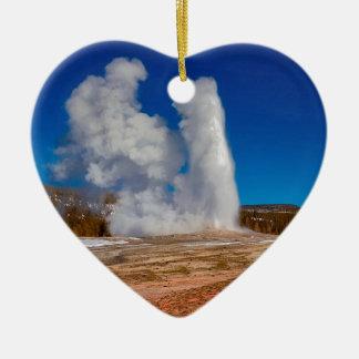 Oude Gelovig van Yellowstone Keramisch Hart Ornament