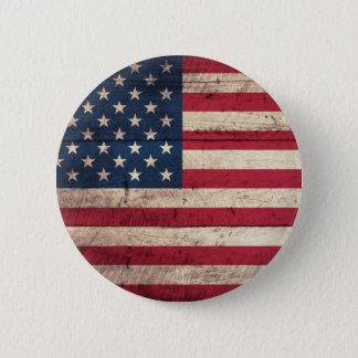 Oude Houten Amerikaanse Vlag Ronde Button 5,7 Cm