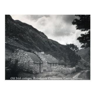 Oude Ierse met stro bedekte plattelandshuisjes, Briefkaart