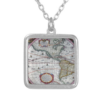 oude kaart Amerika Zilver Vergulden Ketting