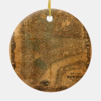 Oude Kaart van de Stad van New York in 1852 Rond Keramisch Ornament