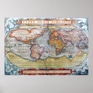 Oude Kaart van de Wereld Poster