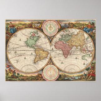 Oude Kaart van de Wereld: Stoopendal Poster