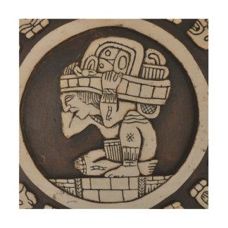 Oude Mayan Strijder Hout Afdruk