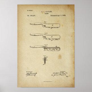 Oude Poster van het Octrooi van het Scheermes van