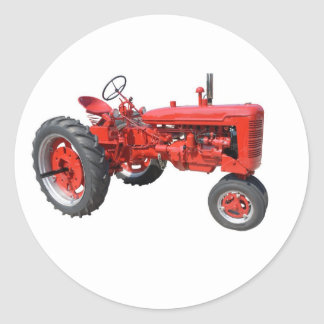 oude rode tractor ronde sticker