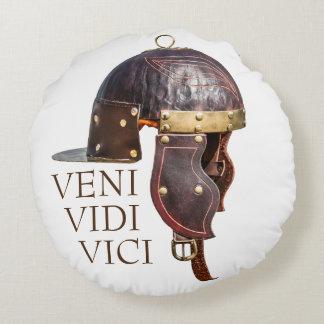 Oude Roman militaire helm - Veni, Vidi, Vici Rond Kussen