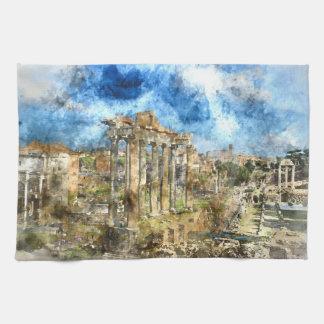 Oude Roman Ruïnes in Rome Italië Theedoek