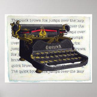 Oude Schrijfmachine Poster