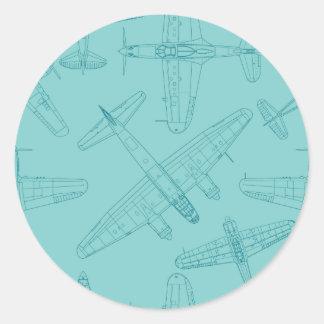 Oude vliegtuigen ronde stickers