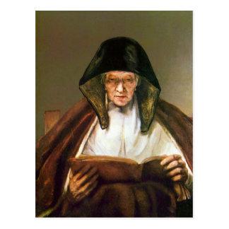 Oude vrouw, die door Rembrandt lezen Briefkaart