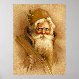 Oude Wereld de Kerstman, Vintage Victoriaans St. Poster