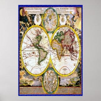 Oude wereldkaart 2 poster