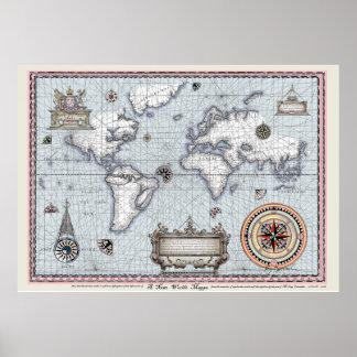 oude wereldkaart No.1, tony fernandes Poster