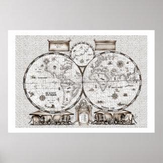 oude wereldkaart No.3, tony fernandes Poster