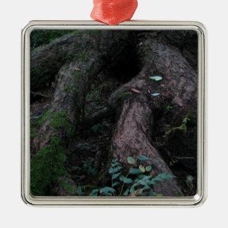 Oude Wortels Zilverkleurig Vierkant Ornament