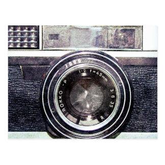 Oude zwarte camera briefkaart