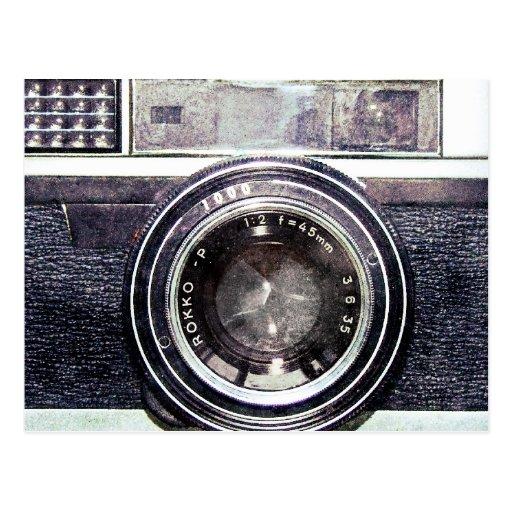 Oude zwarte camera wens kaarten
