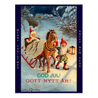 Oude Zweedse Vrolijke Kerstmis & het Nieuwjaar van Briefkaart