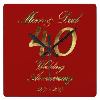 ouders van het Huwelijk van het 40ste Jubileum van Vierkante Klok