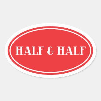 Ouderwets Zuivel Rood Ovaal Half en Half Etiket