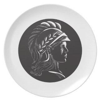 Ovale Houtdruk van het Profiel van Minerva de Diner Borden