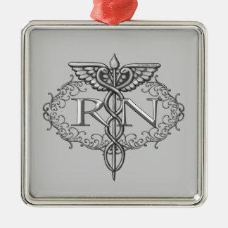 Ovale Zilveren Caduceus RN Verpleegster Zilverkleurig Vierkant Ornament