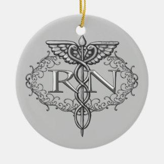 Ovale Zilveren Caduceus RN Verpleegster Rond Keramisch Ornament