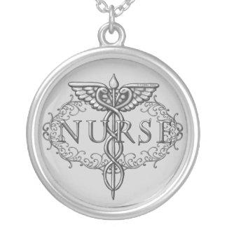 Ovale Zilveren Caduceus Verpleegster om Ketting