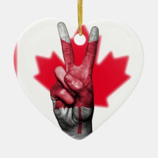 Overheid van het Parlement van de Vlag van Canada Keramisch Hart Ornament