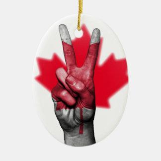 Overheid van het Parlement van de Vlag van Canada Keramisch Ovaal Ornament