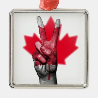 Overheid van het Parlement van de Vlag van Canada Zilverkleurig Vierkant Ornament
