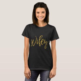 Overhemd van de Typografie van de Folie van Wifey T Shirt