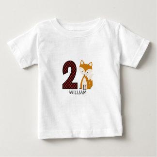 Overhemd van de Verjaardag van de Plaid van de Vos Baby T Shirts