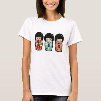 Overhemd van Doll van het Trio van Kokeshi van T Shirt