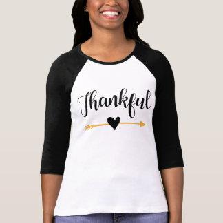 """Overhemd van het Sleeve van """"dankbare"""" Vrouwen 3/4 T Shirt"""