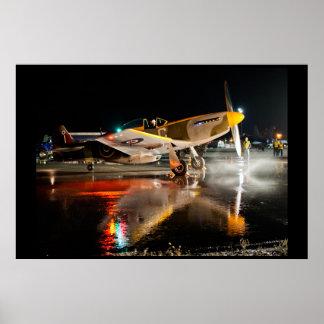 P-51 mustang op Nat Tarmac Poster