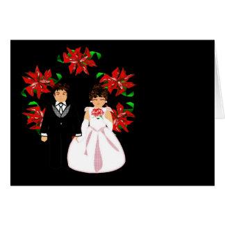 Paar I van het Huwelijk van Kerstmis met Kroon Notitiekaart
