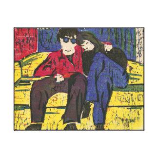 Paar in de Druk Blauwe Rode Gele 14x11 van de Canvas Prints