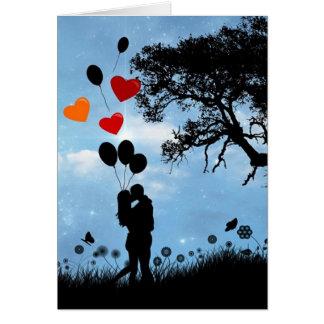 Paar in het Silhouet en de Ballons van de Liefde Kaart