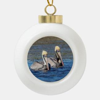 Paar Pelikanen Keramische Bal Ornament