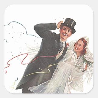 Paar van de Vintage van het Huwelijk van de Vierkante Sticker